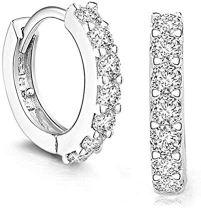 Hithop Premium Quality Fashion Women s Rhinestone Silver Round Rings Hoop Stud Earrings Jewellery product image