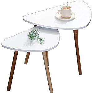 {Pratici ed eleganti} - Set di 2 tavolini colore del piano bianco e gambe legno. Dimensione del grande 60 × 40 × H45cm e del piccolo 46 × 30 × H41cm. Eleganti dal design retrò, vintage e moderno. Ideali come tavolini da caffè, soggiorno. Anche comodi...