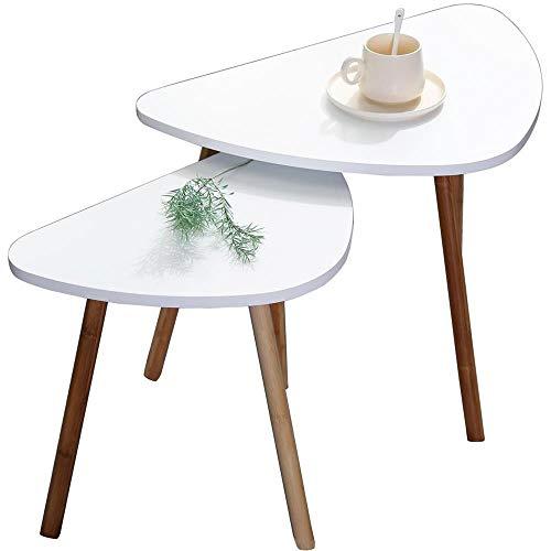 Set Di Due Tavolini Da Caffe Bianchi in Legno Scandivavi 60x40xH45 E 46x30xH41 Minimalisti Appoggio Piante Vasi Comodino Legno MDF. Tavolini Salotto