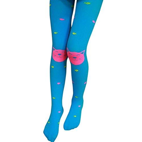 Fulltime® Les Filles D'Automne Collants Barbus Bas Chaussettes Leggings (Bleu ciel)