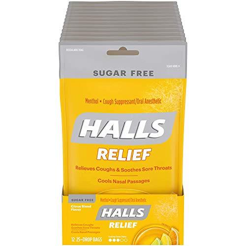 Halls Citrus Sugar Free Cough Drops - with Menthol - 300 Drops (12 bags of 25 drops)