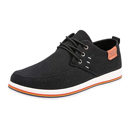 ZODOF Zapatillas de Deporte de Hombre Al Aire Libre Lona Casual Zapatos Cómodo Zapatos de Verano para Hombre Zapatos de los Hombres de Moda(Negro)