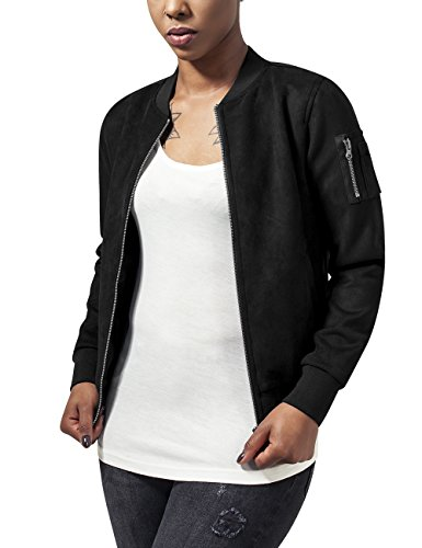 Urban Classics Damen Ladies Imitation Suede Bomber Jacket Jacke, - Schwarz (black 7) - L