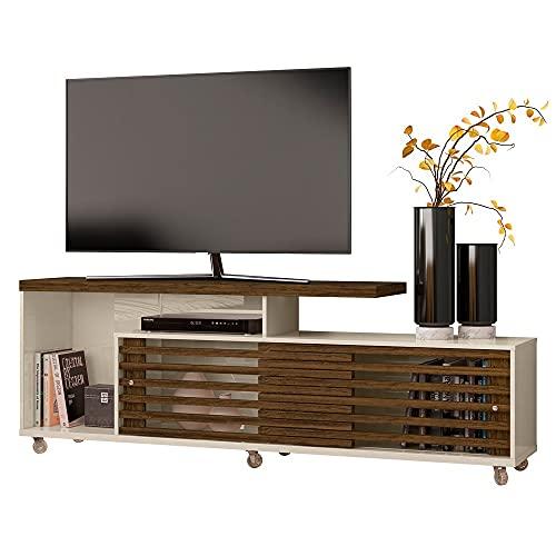 Rack para TV de hasta 65' Mesa TV Centro de Entretenimiento Modular Moderno Elegante y Funcional (Off White/Savana)