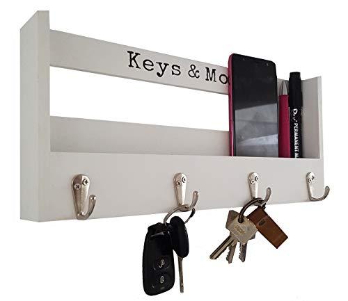 LB H&F Schlüsselbrett Holz mit Ablage Schlüsselkasten Vintage Schlüsselschrank und 4 Schlüsselhaken für Briefe, Stifte, Handy Schlüsselleiste Schlüsselboard Weiß