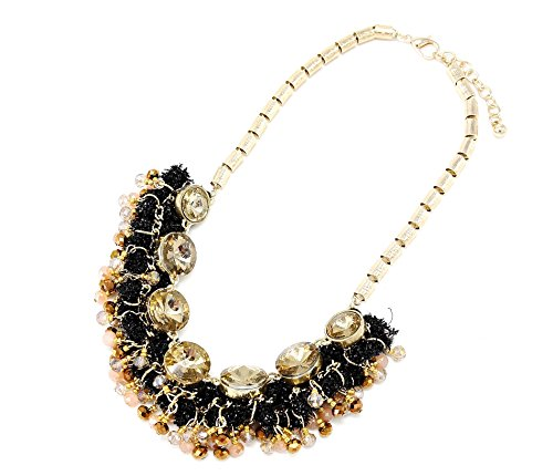 CC561-Collana modello 'Plastron'effetto-Ghirlanda con perle a specchio, colore: beige/oro-Mode fantasia