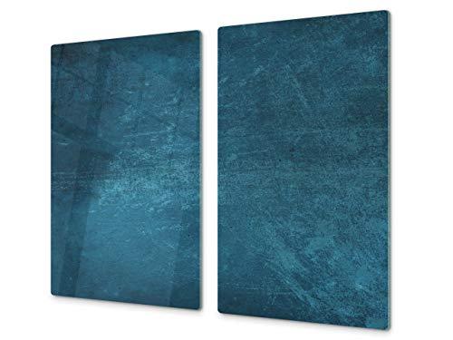 Concept Crystal Tagliere da Cucina in Vetro e Copri-Piano Cottura a induzione – Pezzo Unico (60x52 cm) o Due Pezzi (30x52 cm ognuno); D10A Serie Textures A: Trama 91