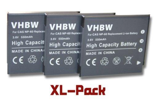 vhbw 3X Akku passend für Casio Exilim EX-Z80, EX-Z9, EX-Z90 Kamera Digicam DSLR (550mAh, 3.6V, Li-Ion)