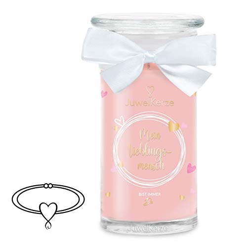 JuwelKerze 'Mein Lieblingsmensch' (Armband) Schmuckkerze große Rosa Duftkerze 925 Sterling Silber - Kerze mit Schmucküberraschung als Geschenk für sie