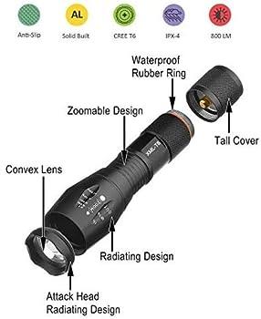 Xisunred Lot de 2 lampes Torche de poche LED haute puissance avec 2 piles rechargeables 18650, lampe de poche tactique avec chargeur USB