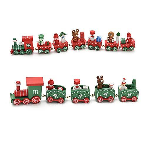 Weihnachten Holz Zug, 2 Stücke Mini Weihnachten Design Spielzeug Zug Weihnachtszug Spielzeug Holzzug für Weihnachten Urlaub Tischplatte Kindergarten Kinder Geschenk Ornamente