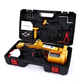 Trihelper Electric Car Floor Jack - 12V Car Jack Kit for 3 Ton Vehicle Electric Scissor Car Lift for Tire Change and Road Emergencies with Carrying Case (Yellow)