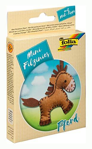 folia 52905 - Filz Nähset für Kinder-Mini Filzinie, Anhänger Pferd, 11 teilig - Filznähset zur Herstellung eines selbstgenähten Anhängers