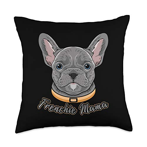 Davey's French BullDog Gifts French BullDog Gifts for Women Girls Kids Frenchie Mama Throw Pillow, 18x18, Multicolor