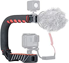ULANZI Handle U Grip Pro Video Stabilizer U Shape Rig Triple Cold Shoe Mount Handheld Compatible with GoPro Hero 7/6 DSLRs Cameras Camcorders Canon Sony Smartphones Filming Shooting Low Position