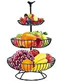 Fruit Bowl, Homga 3-Tier Fruit Basket Large Fruit Stand Holder for Kitchen, Kitchen Counter & Dining Table Organizer for Fruits Snacks Vegetables