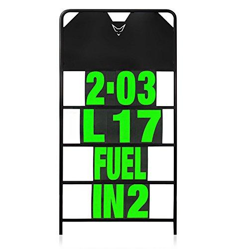 Pitboard, Boxentafel, Infotafel, Anzeigetafel, Rundenzeiten, Rennsport, Rennstrecke, Zeitnahme, Platzierung, groß, Set mit 37 Karten, neon grün, RACEFOXX