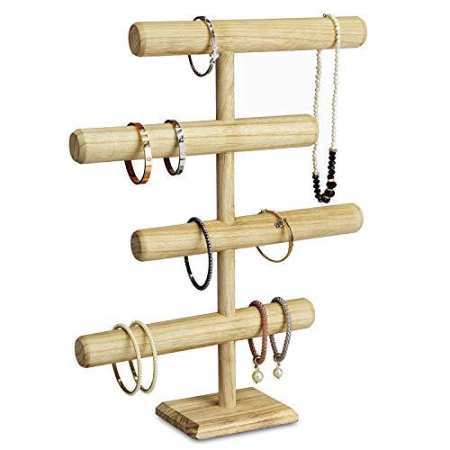 MOOCA Lightweight Wooden 4-Tier Jewelry Display Stand, Wooden Necklace Jewelry Display Organizer Bracelet Holder for Shows, Wooden Bracelet Watch Display Stand, Oak Color