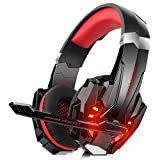 DIZA100 Kotion Each G9000 Gaming Headset Headphone 3.5mm Stereo Jack with Mic LED Light for Xbox One S/Xbox one/PS4/Tablet/Laptop/Cell Phone(Red) (Renewed)