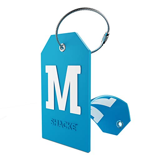 Initial Luggage Tag with Full Privacy Cover and Stainless Steel Loop (Aqua Teal) (M)