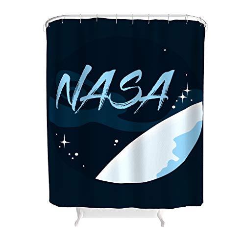 O5KFD&8 NASA - Gemustert Stilvielfalt Duschvorhang Retro Stoff Badewannenvorhang Mit Ringen - Space für Gästebadezimmer White 200x200cm