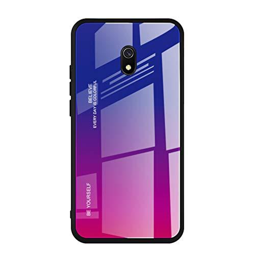 HAOYE Cover per Xiaomi Redmi 8A Cover, Custodia in Vetro a Colori Sfumato, Vetro Temperato AntiGraffio Back Cover + Bordo in Silicone Morbido TPU Protettiva Case Cover(4)