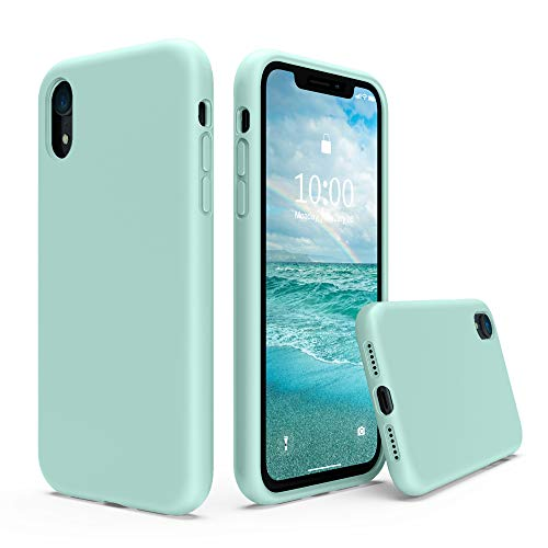 xhorizon iphone 5 cases SURPHY Silicone Case Compatible with iPhone XR Case, Soft Liquid Silicone Shockproof Phone Case (with Microfiber Lining) Compatible with iPhone XR (2018) 6.1 inches (Mint Green)