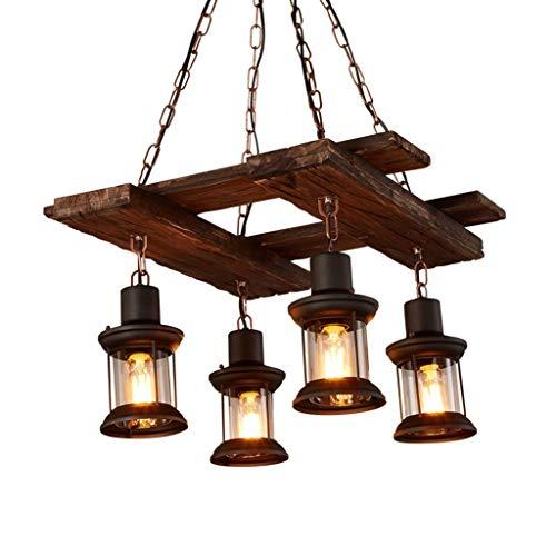 LLT Araña Útil Chandelier Loft Lámpara de Araña, Estilo Retro Industrial Café Romántico Restaurante Nostálgico Iluminación de Madera E27 * 4
