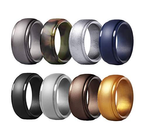 NOOYA Silicone Wedding Ring for Men,8 Pack,Affordable Rubber Wedding Engagement Bands for Men's, Step Edge Design,8mm Wide