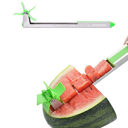 HUISHENG Windmühle Wassermelonen Schneider, Melonen Cutter Kugelausstecher, Küchen Messer ObstSchneider und Servierer