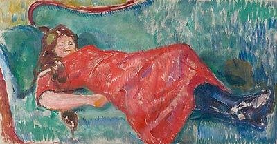 On The Sofa Edvard Munch Couch Ausruhen Frauen Mädchen Stiefel Kleid B A3 01534
