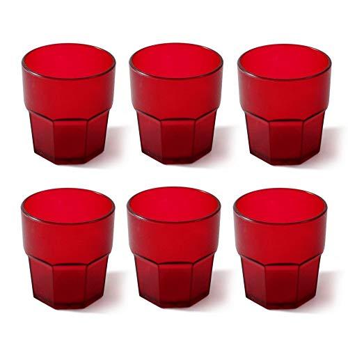 Omada Design set de 6 vasos de 30 cl, bebidas o vasos largos, 12,5 cm de alto en plástico, irrompible, apilable, forma octogonal y apto para lavavajillas, línea Unglassy