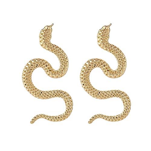 KINGVON Pendientes de serpiente punk con personalidad Pendientes de dragón Pendientes de gota de dragón de serpiente grande de espíritu dorado y plateado Exagerados Pendientes de botón de serpient