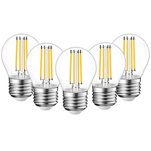Bonlux 4W E27 Lampadina Filamento LED G45 Dimmerabile, Lampadina Edison in Stile Vintage 350LM Illuminazione a 360 Gradi(Bianca Calda 2700K, 5-Unità)