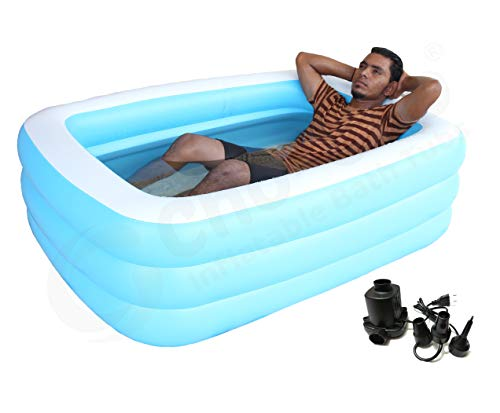 Cho-Cho Inflatable Bath Tubs Inflatable Swimming Bath Tub for Kids and Adults with Pump (Multicolor, 5 ft)