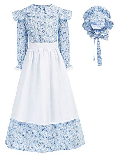 Girls Childs Pioneer Costume Colonial Dress Costume Blue 12-13Years
