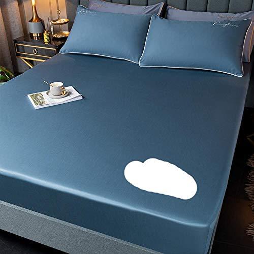 Funda de colchón de Color sólido con Bordado de algodón 60tc Funda de Almohada Ajustada para Cama-Violeta, Twin