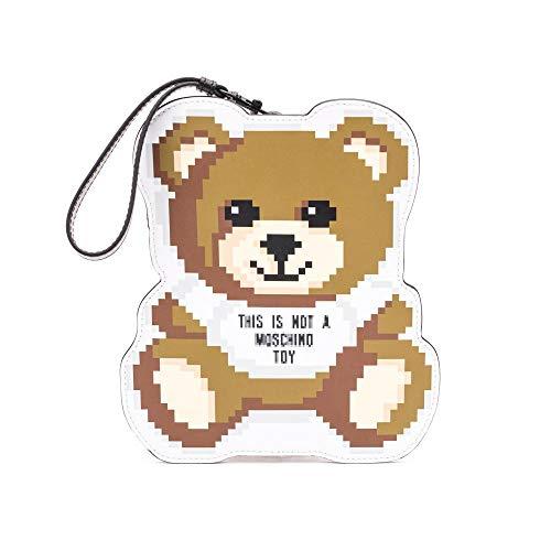 Moschino damen teddy bear pixel Clutch bianco