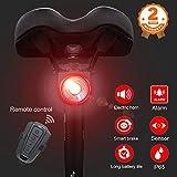 Intelligente Bicicletta Fanale Posteriore, allarme antifurto per bicicletta Telecomando wireless e campanello elettrico per fanale posteriore bici, USB ricaricabile impermeabile LED per bici da strada