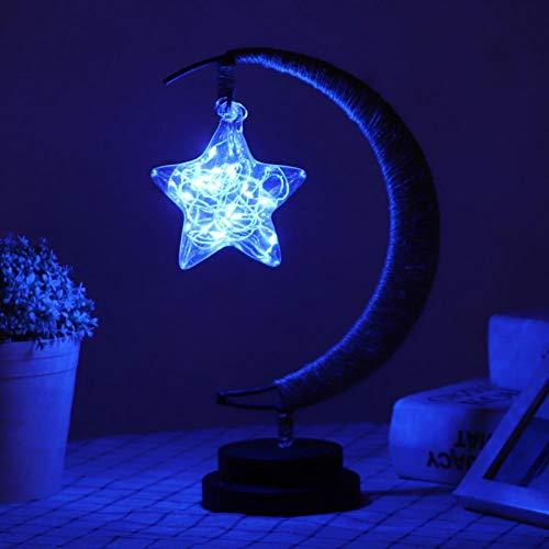 Omabeta Alambre de cobre ligero LED noche lámpara hecha a mano cuerda de cáñamo práctico alto brillo para festival (Blu-ray, estrella de cinco puntas)