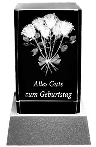 Kaltner Präsente Stimmungslicht - Das perfekte Geschenk: LED Kerze/Kristall Glasblock / 3D-Laser-Gravur ALLES GUTE ZUM GEBURTSTAG