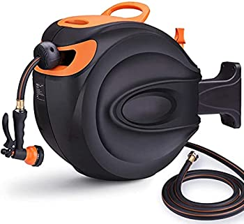 Garden Hose Reel Auto Retractable Hose with Wall Mount 65 ft Water Hose Reel+7ft Lead Hose 180° Pivot 7 Patterns Spray Nozzle Suitable for Garden Watering Car/Machine Washing - Screws Included