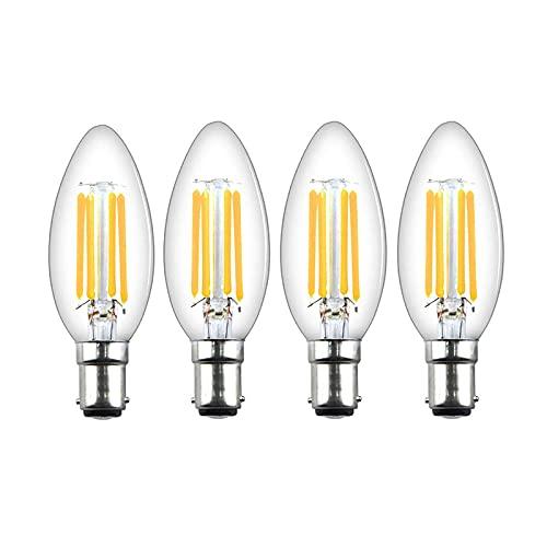 ANLONGLI B15 LED Vela Filamento Filamento Bombillas 220V Dimmable 4W Vintage Bulbs 400lm White White 2700K 40W Reemplazo Oficina de Reemplazo, 4PACK