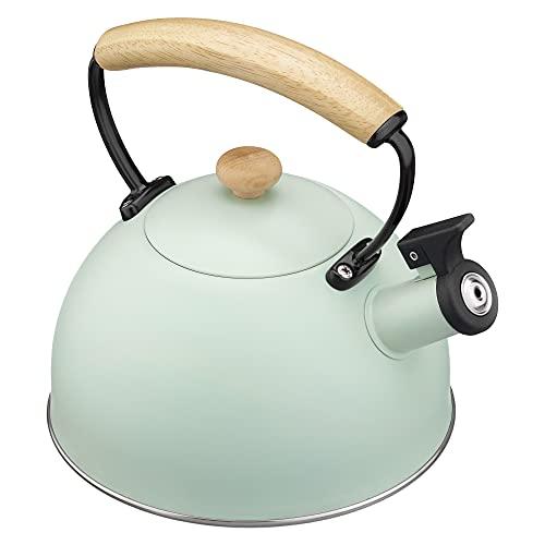 Navaris Hervidor de Agua para fogón - Tetera de Acero Inoxidable con Silbato para Cocina inducción vitrocerámica - Vintage en Color Menta - 2.5 L