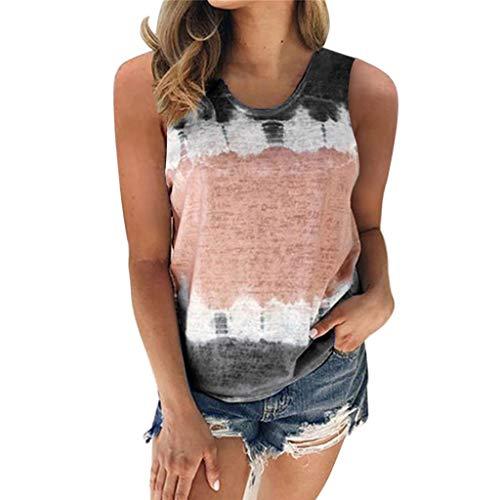 ESAILQ Damen T-Shirt Armelloses Top Frauen Verstellbare Schultergurte Runden Hals Leibchen Crop Top(XXXL,Schwarz)