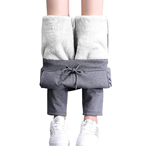 Pantalones térmicos de correr para mujer con cordón, pantalones de senderismo con forro, leggins...