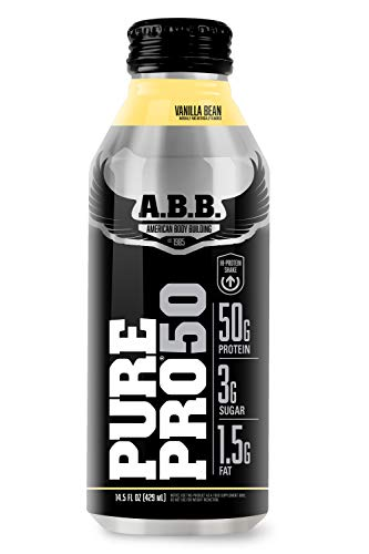 American Body Building Pure Pro 50, Post-Workout Recovery Protein Shake, Muscle Builder, HI-Protein, Low Fat, Low Sugar, Vanilla Flavored, Ready to Drink 14.5 oz Bottles, 12 Count