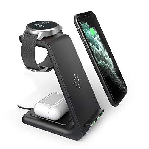 Geekera Kabelloses Ladegerät, 3 in 1 Wireless-Ladestation mit Ständer – Dock für Smartphones, Smart Watches etc.