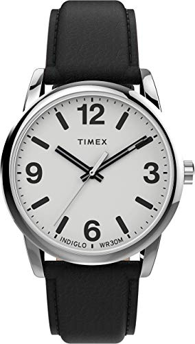 Timex Easy Reader 38mm Mens Buckle Black Leather Strap Watch T5K410