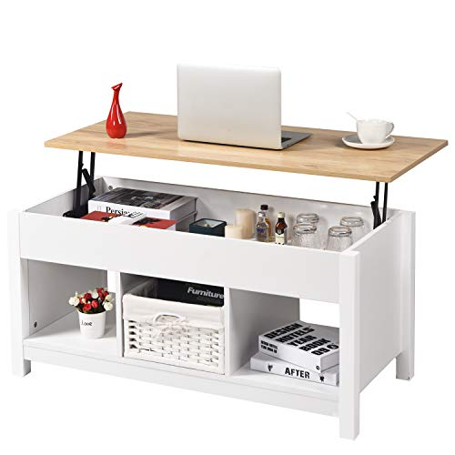 Coffee Table Lift Top with Hidden Storage and Shelves, Modern Lift Tabletop Dining Table with Compartment and 3 Cube for Home Office Living Room Reception, Real Wood Legs, White